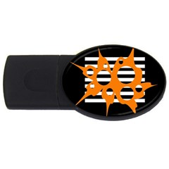 Orange abstract design USB Flash Drive Oval (1 GB)