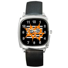 Orange abstract design Square Metal Watch