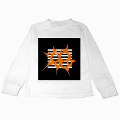 Orange Abstract Design Kids Long Sleeve T Shirts