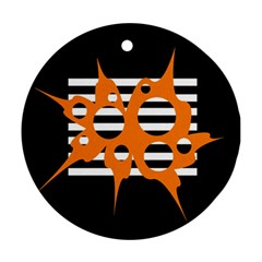 Orange abstract design Round Ornament (Two Sides)