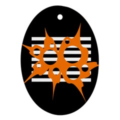 Orange abstract design Oval Ornament (Two Sides)