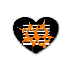 Orange abstract design Heart Coaster (4 pack)