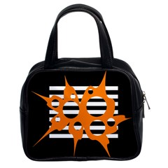 Orange abstract design Classic Handbags (2 Sides)