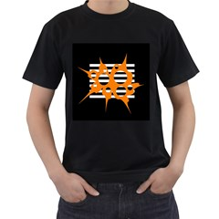 Orange abstract design Men s T-Shirt (Black)