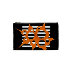 Orange abstract design Cosmetic Bag (Small)
