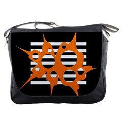 Orange Abstract Design Messenger Bags