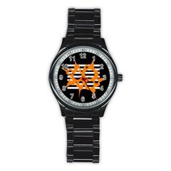 Orange abstract design Stainless Steel Round Watch