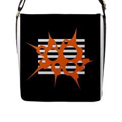 Orange abstract design Flap Messenger Bag (L)
