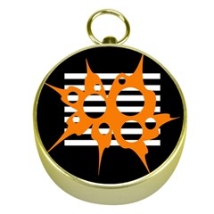 Orange abstract design Gold Compasses