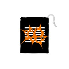 Orange abstract design Drawstring Pouches (XS)