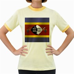 Flag Of Swaziland Women s Fitted Ringer T-Shirts
