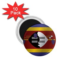 Flag Of Swaziland 1.75  Magnets (10 pack)