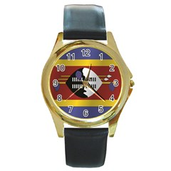 Flag Of Swaziland Round Gold Metal Watch