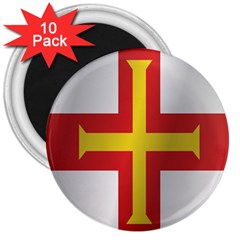 Flag Of Guernsey 3  Magnets (10 pack)