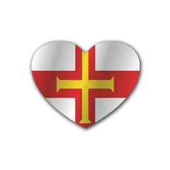 Flag Of Guernsey Heart Coaster (4 pack)