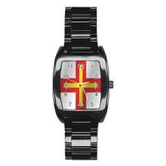 Flag Of Guernsey Stainless Steel Barrel Watch