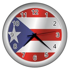 Flag Of Puerto Rico Wall Clocks (Silver)
