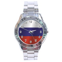 Flag Of Russia Stainless Steel Analogue Watch