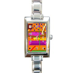 Orange abstraction Rectangle Italian Charm Watch