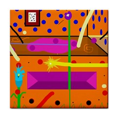 Orange abstraction Tile Coasters
