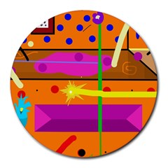 Orange abstraction Round Mousepads