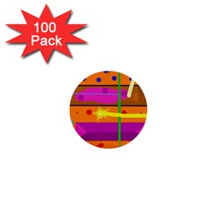 Orange abstraction 1  Mini Buttons (100 pack)