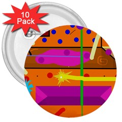 Orange abstraction 3  Buttons (10 pack)