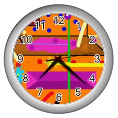 Orange abstraction Wall Clocks (Silver)