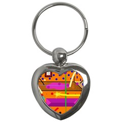 Orange abstraction Key Chains (Heart)