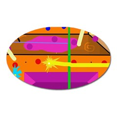 Orange Abstraction Oval Magnet