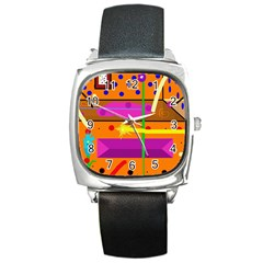 Orange abstraction Square Metal Watch