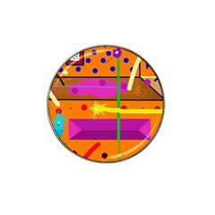 Orange abstraction Hat Clip Ball Marker (4 pack)