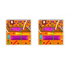 Orange abstraction Cufflinks (Square)