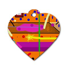 Orange abstraction Dog Tag Heart (Two Sides)