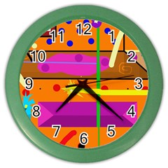 Orange abstraction Color Wall Clocks