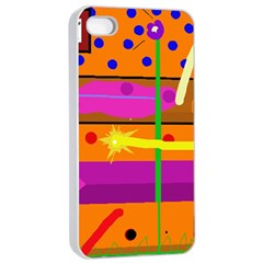Orange abstraction Apple iPhone 4/4s Seamless Case (White)