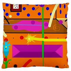 Orange abstraction Large Cushion Case (Two Sides)