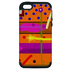 Orange abstraction Apple iPhone 5 Hardshell Case (PC+Silicone)