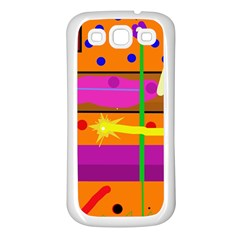 Orange abstraction Samsung Galaxy S3 Back Case (White)