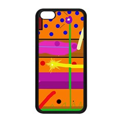 Orange abstraction Apple iPhone 5C Seamless Case (Black)