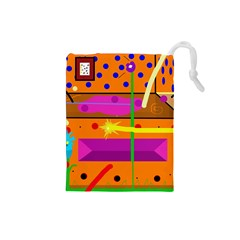 Orange abstraction Drawstring Pouches (Small)
