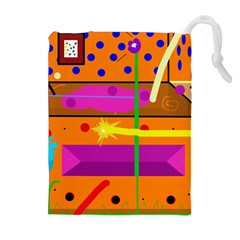 Orange abstraction Drawstring Pouches (Extra Large)