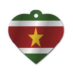 Flag Of Suriname Dog Tag Heart (One Side)
