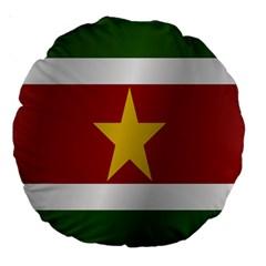 Flag Of Suriname Large 18  Premium Round Cushions