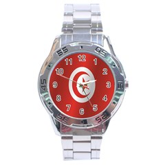 Flag Of Tunisia Stainless Steel Analogue Watch