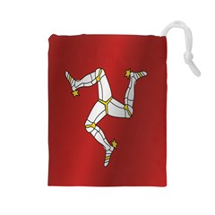 Flag Of Isle Of Man Drawstring Pouches (Large)