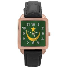 Flag Of Mauritania Rose Gold Leather Watch