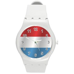 Flag Of Luxembourg Round Plastic Sport Watch (M)