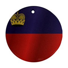 Flag Of Liechtenstein Round Ornament (Two Sides)