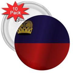 Flag Of Liechtenstein 3  Buttons (10 pack)